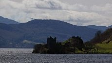 Loch Ness with the ruins of Urquart Castle