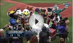 Red Sox mascot Wally the Green Monster celebrates his 16th