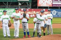 Zander Clark of West Fairlee, VT throws the first pitch before a Vermont Lake Monsters minor league baseball team's game at Centennial Field in Burlington, VT on Friday, Aug. 14, 2015. (Oliver Parini photograph).